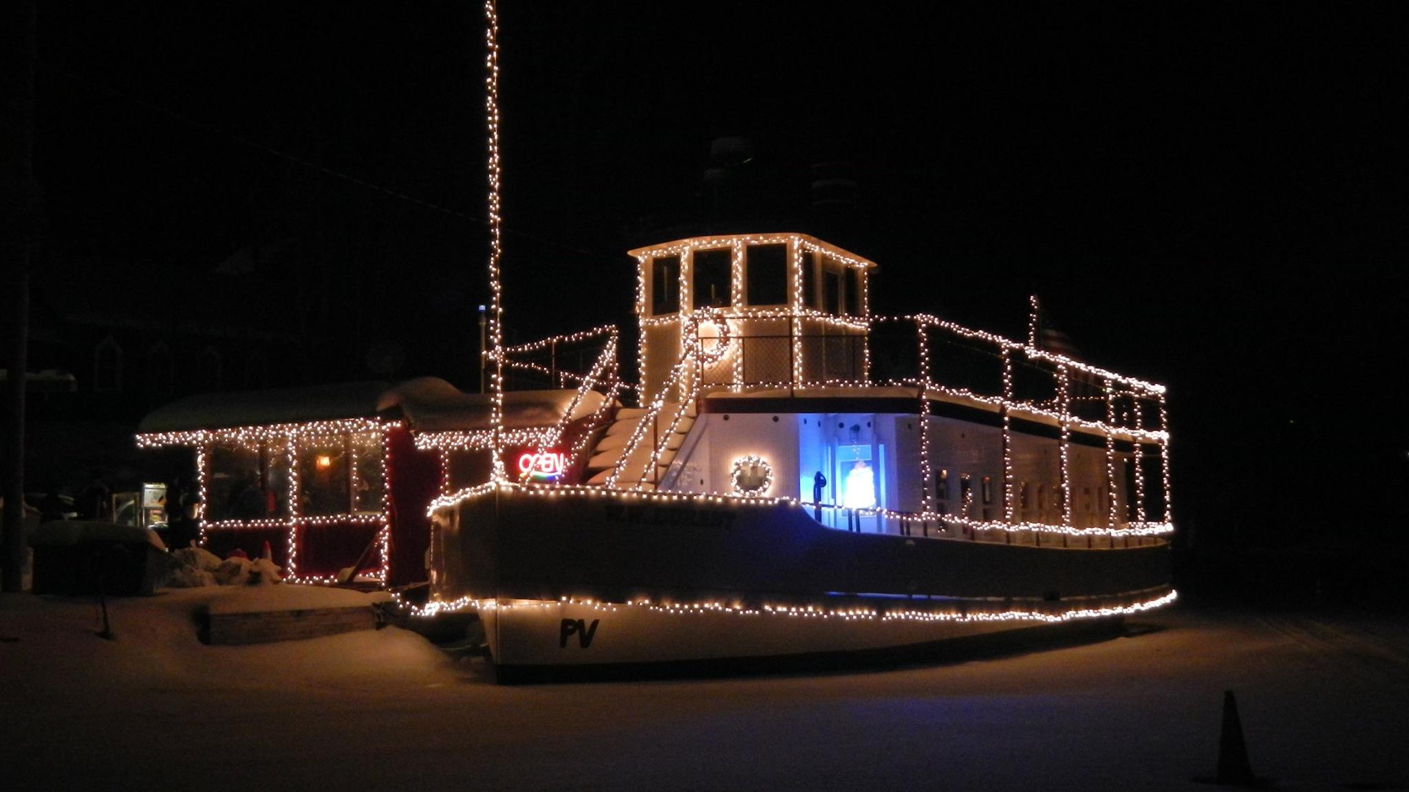 WW Durant Ice Boat at Night