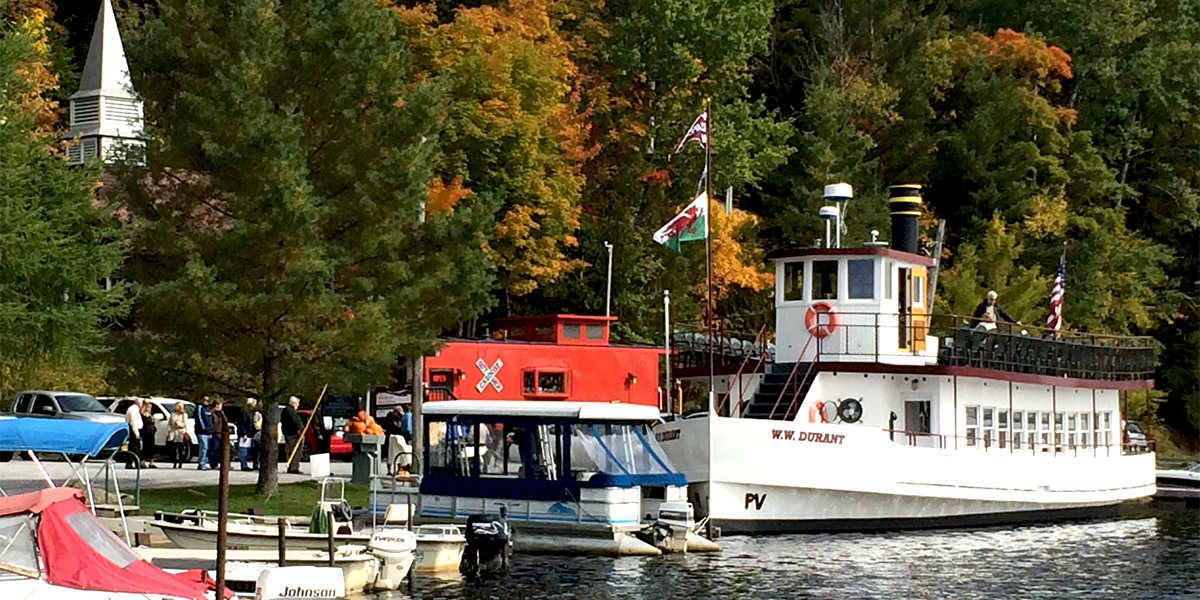 All Aboard? Passengers boarding the W.W. Durant for a scenic excursion on Raquette Lake