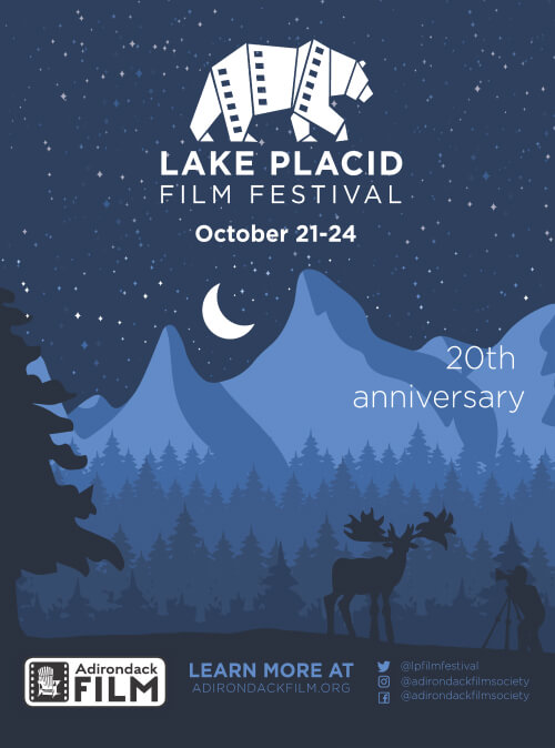 Poster for the 2021 Lake Placid Film Festival, showing mountains in shades of blue, with a moose.