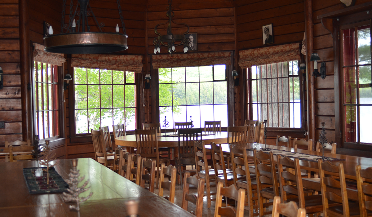 Interior shot of Great Camp Sagamore's Dining Hall