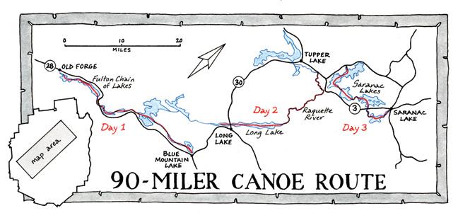 Adirondack Canoe Classic - 90 Miler Map