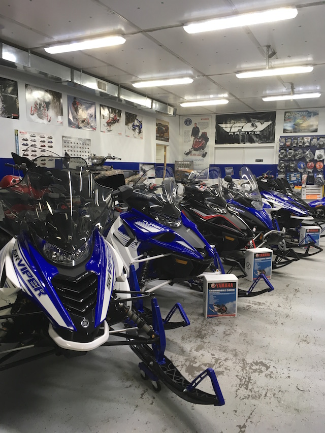 Snowmobiles at Village Motors in Speculator.