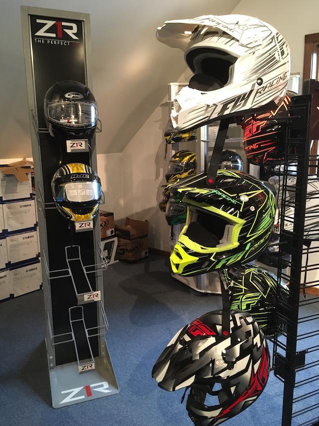 Snowmobile helmets at Village Motors in Speculator.