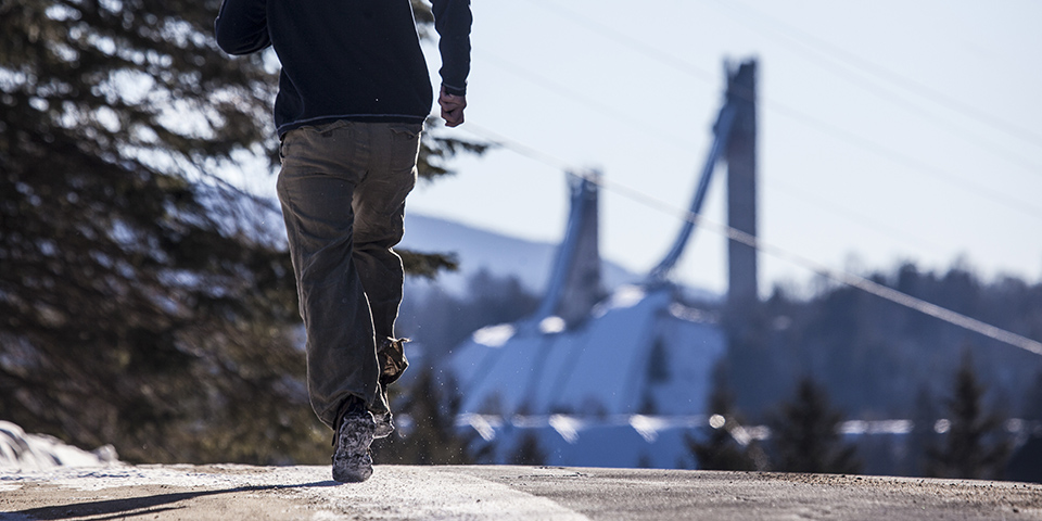 Running on a wintry road